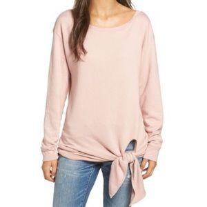 Hinge Tie Front pullover crewneck sweater